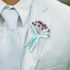 Eye-catching Hand-tied Satin Boutonniere/Men's Accessories