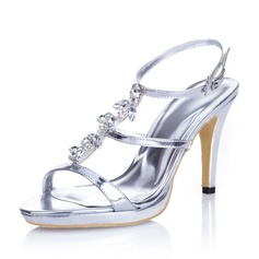 Women's Leatherette Stiletto Heel Pumps Sandals With Buckle Rhinestone