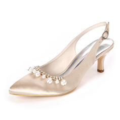 Women's Satin Stiletto Heel Slingbacks With Pearl