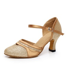 Women's Satin Sparkling Glitter Heels Ballroom With Ankle Strap Buckle Dance Shoes