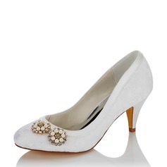Women's Mesh Cone Heel Closed Toe With Pearl