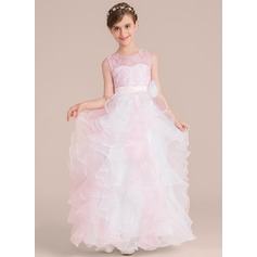 Ball-Gown Scoop Neck Floor-Length Organza Junior Bridesmaid Dress With Flower(s)