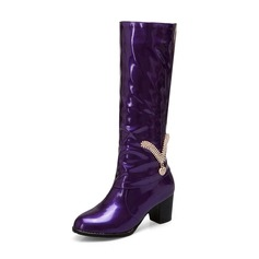 Women's Patent Leather PU Chunky Heel Closed Toe Boots Knee High Boots With Rhinestone Chain shoes
