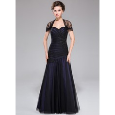 Trumpet/Mermaid Off-the-Shoulder Floor-Length Taffeta Tulle Mother of the Bride Dress With Ruffle Lace Beading Sequins