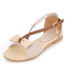 Women's Leatherette Flat Heel Sandals Flats Peep Toe With Bowknot Buckle shoes