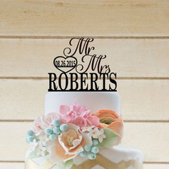 Personalized Heart/Mr. & Mrs. Acrylic/Wood Cake Topper