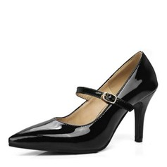 Women's Leatherette Stiletto Heel Pumps Closed Toe With Buckle shoes