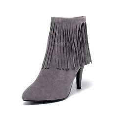 Women's Suede Stiletto Heel Pumps Closed Toe Boots Ankle Boots With Tassel Split Joint shoes