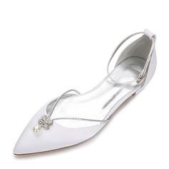 Frauen Seide wie Satin Flascher Absatz Geschlossene Zehe Flache Schuhe mit Kristall