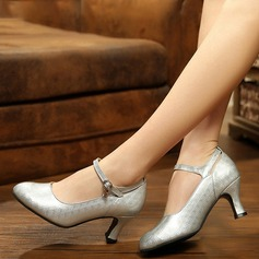 Women's Leatherette Pumps Character Shoes With Ankle Strap Dance Shoes