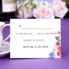 Personalized Flower Design Pearl Paper Response Cards