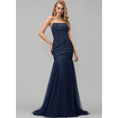 Trumpet/Mermaid Square Neckline Sweep Train Tulle Prom Dresses With Lace Sequins