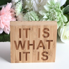 """IT IS WHAT IT IS"" Simple Square Design Bamboo Wedding Sign"