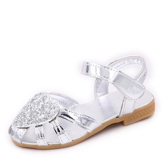 Girl's Round Toe Closed Toe Sparkling Glitter Flat Heel Flats Flower Girl Shoes With Velcro