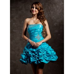 A-Line/Princess Strapless Short/Mini Taffeta Homecoming Dress With Ruffle Beading Sequins