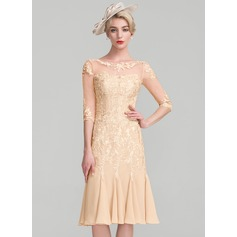 Sheath/Column Scoop Neck Knee-Length Chiffon Lace Mother of the Bride Dress With Beading (267253168)