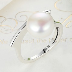 Shining Imitation Pearls Silver Ladies' Fashion Rings