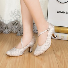 Women's Satin Heels Pumps Modern With Rhinestone Dance Shoes