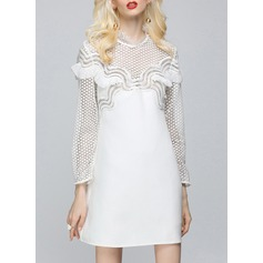 Polyester With Lace/Pierced Above Knee Dress (199140155)