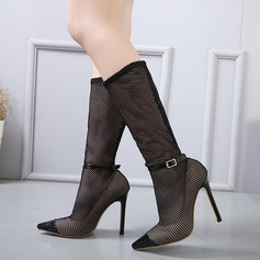 Women's Mesh Stiletto Heel Pumps Boots Mid-Calf Boots With Buckle shoes