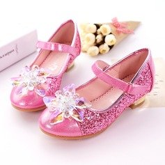Girl's Closed Toe Leatherette Sparkling Glitter Low Heel Pumps With Rhinestone Sparkling Glitter Velcro