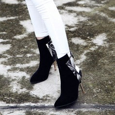 Women's Suede PU Stiletto Heel Pumps Boots Mid-Calf Boots With Zipper Jewelry Heel shoes