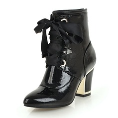 Women's Leatherette Chunky Heel Boots Ankle Boots With Zipper Lace-up shoes
