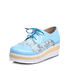 Women's Patent Leather Mesh Wedge Heel Flats Closed Toe Wedges With Stitching Lace Lace-up shoes