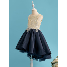Ball-Gown/Princess Asymmetrical Flower Girl Dress - Satin Sleeveless Scoop Neck With Lace/Sequins