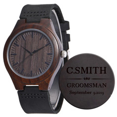 Groomsmen Gifts - Personalized Mens Custom Engraved Leather Ebony Watches (258225622)