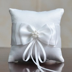 Simple Ring Pillow in Linen/Polyester With Bow