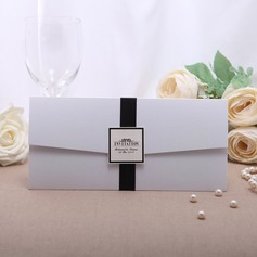 Personalized Classic Style Wrap & Pocket Invitation Cards With Ribbons