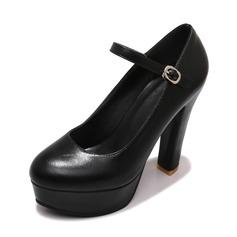 Women's Leatherette Stiletto Heel Pumps Platform Closed Toe With Buckle shoes