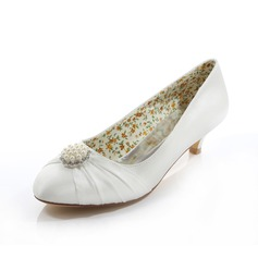 Women's Satin Low Heel Closed Toe Pumps With Imitation Pearl