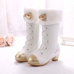 Girl's Closed Toe Leatherette Low Heel Boots With Bowknot Zipper