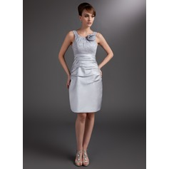 Sheath/Column Scoop Neck Knee-Length Satin Mother of the Bride Dress With Ruffle Flower(s)