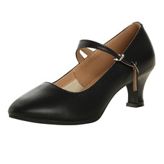 Women's Real Leather Pumps Character Shoes With Ankle Strap Dance Shoes (053113228)