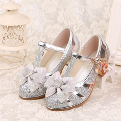 Jentas Lukket Tå Leather lav Heel Pumps Flower Girl Shoes med Bowknot Spenne Rhinestone Glitrende Glitter