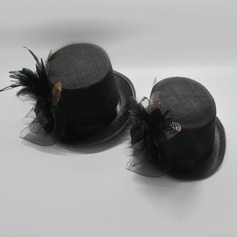 Couples' Artistic Cambric/Polyester With Feather Bowler/Cloche Hats/Kentucky Derby Hats