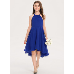 Scoop Neck Asymmetrical Chiffon Junior Bridesmaid Dress With Ruffle (268235479)