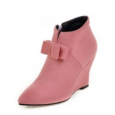 Women's Suede Wedge Heel Pumps Closed Toe Wedges Boots Ankle Boots With Bowknot Zipper shoes