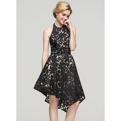 A-Line/Princess Halter Asymmetrical Lace Cocktail Dress With Beading Sequins