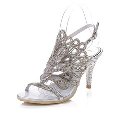 Women's Leatherette Cone Heel Sandals Slingbacks With Rhinestone