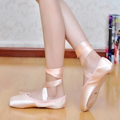 Women's Silk Flats Ballet With Lace-up Dance Shoes