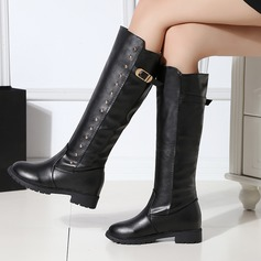Women's PU Low Heel Boots Knee High Boots With Rivet Buckle shoes
