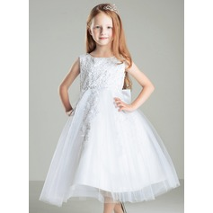 A-Line/Princess Tea-length Flower Girl Dress - Satin/Tulle/Cotton Sleeveless Scoop Neck With Bow(s)