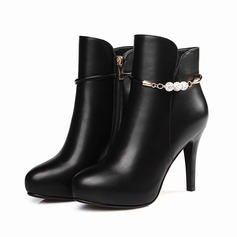Women's Leatherette Stiletto Heel Pumps Ankle Boots With Beading Zipper shoes