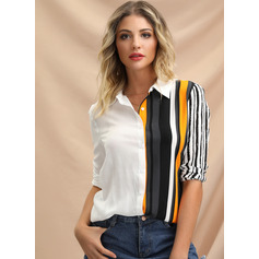 Long Sleeves Viscose Lapel Shirt Blouses Blouses (1003223658)