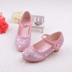 Jentas Round Toe Leather lav Heel Flower Girl Shoes med Rhinestone Velcro