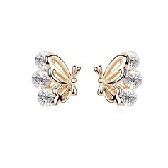 Butterfly Shaped Alloy/Crystal Ladies' Earrings